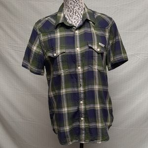 Mens plaid lucky brand button down shirt